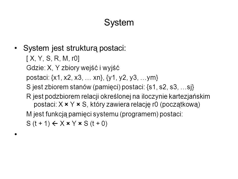 System System jest strukturą postaci: [ X, Y, S, R, M, r0]